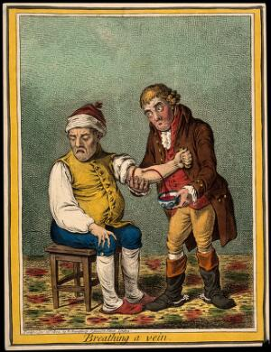 view An ill man who is being bled by his doctor. Coloured etching by J. Sneyd, 1804, after J. Gillray.