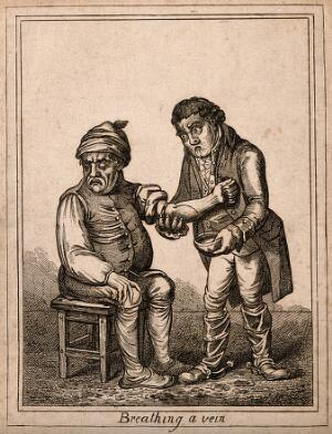 view An ill man being bled by a surgeon. Coloured etching after J. Gillray, 1804, after J. Sneyd.