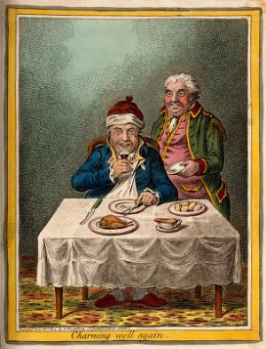 view A convalescing man happily eating a meal, assisted by his grinning servant. Coloured etching by J. Sneyd, 1804, after J. Gillray.