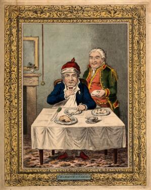 view A convalescing man happily eating a meal, assisted by his grinning servant. Coloured etching by J. Gillray, 1804, after J. Sneyd.