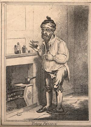 view A man standing by a fire place, pulling a peculiar face after taking some medicine. Coloured etching by J. Gillray, 1800.