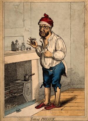 view A man standing by a fireplace, pulling a peculiar face after taking some medicine. Coloured etching after J. Gillray.