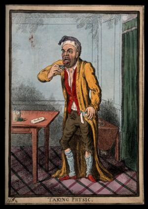 view A man pulling a peculiar face as he is about to take some medicine. Coloured etching by I. Cruikshank, 1801, after J. Gillray.
