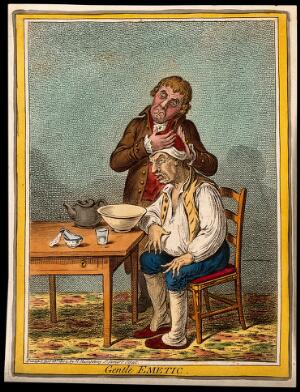 view A grimacing invalid seated before a bowl having received an emetic, another man clasps his head compassionately. Coloured etching by J. Gillray, 1804, after J. Sneyd.