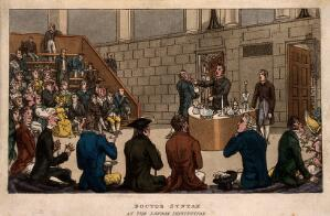 view Doctor Syntax attending a scientific demonstration at the Royal Institution, London. Coloured aquatint by T. Rowlandson after W. Combe.