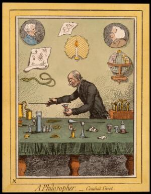 view Adam Walker, a natural philosopher, performing scientific experiments. Coloured etching after J. Gillray, 1796.
