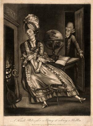 view A young woman engrossed in raptures at her desk, with her hands in her lap: a man [a servant?] appears in the background. Mezzotint, 1772.