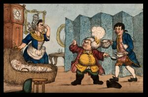 view An episode in Tristram Shandy: Dr. Slop with his wig on fire angrily gesticulating to Susannah who holds her nose near the wounded baby Tristram Shandy. Coloured etching after H.W. Bunbury after L. Sterne.