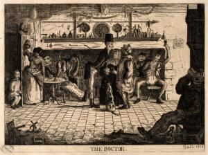 view A doctor examining a man's tongue in a country tavern. Etching by H. Smith, 1858.
