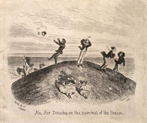 view People out walking and riding in extremely windy weather on top of the Brecon Beacons. Wood engraving by O.T., 1860.