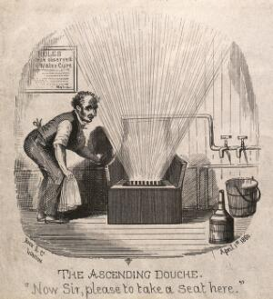 view A man operating a specially designed hydrotherapeutic chair. Wood engraving by O.T., 1860.