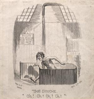 view A man taking a shower as part of a hydrotherapeutic cure. Wood engraving by O.T., 1860.