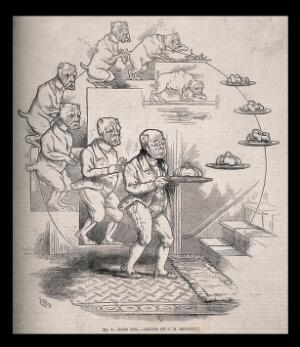 view The evolution of a dog and bone into a butler bearing a silver serving-dish; representing Darwin's theories. Wood engraving after C. Bennett, 1863.