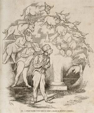 view The evolution of a barrel and goose into a donkey into a man wearing tails; representing Darwin's theories. Wood engraving after C. Bennett, 1863.
