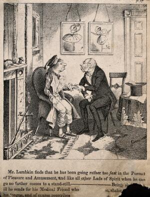 view Mr. Lambkin at home ill from overindulgence being visited by a doctor friend. Lithograph by G. Cruikshank.
