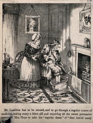view Mr. Lambkin ill with his feet in warm water being nursed by Mrs. Slops. Lithograph by G. Cruikshank.