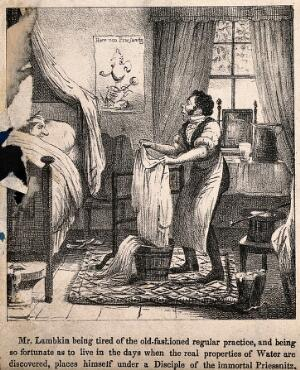 view Mr. Lambkin in bed undergoing hydrotherapy with a follower of V. Priessnitz. Lithograph by G. Cruikshank.