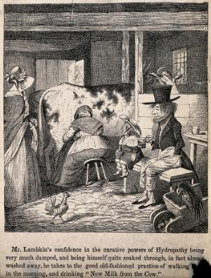 view Mr. Lambkin ill trying the recuperative powers of walking and drinking fresh milk. Lithograph by G. Cruikshank.