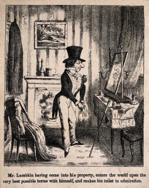 view Mr. Lambkin dressing up in front of a mirror. Lithograph by G. Cruikshank.