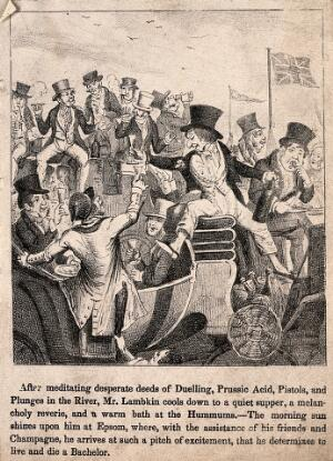 view Mr. Lambkin drunk on champagne sitting in a carriage at Epsom with lots of other drunken bachelors. Lithograph by G. Cruikshank.