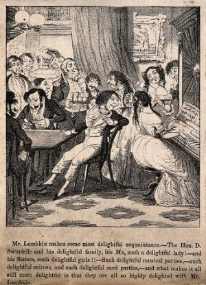 view Mr. Lambkin drunkenly dancing the polka and knocking over a tray of coffee, while his loved one looks on in a dismayed manner. Lithograph by G. Cruikshank.