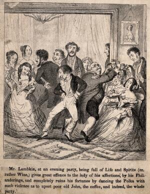 view Mr. Lambkin at a party with some unsavoury looking company. Lithograph by G. Cruikshank.