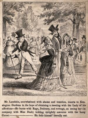 view Mr. Lambkin out walking in Kensington Gardens hoping to bump into his loved one, he discovers her on the arm of another man which causes him much jealousy. Lithograph by G. Cruikshank.