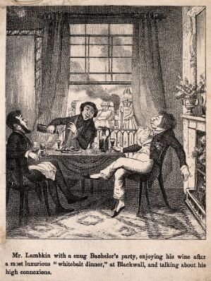 view Mr. Lambkin enjoying some wine in the company of friends. Lithograph by G. Cruikshank.