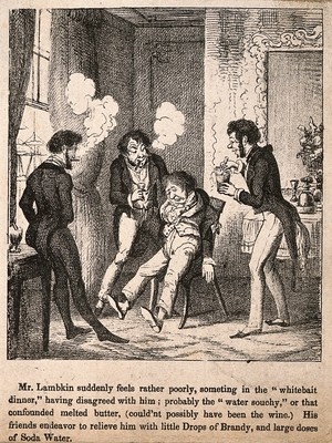 view Mr. Lambkin suffering from excess food and wine, his friends try to make him feel better. Lithograph by G. Cruikshank.