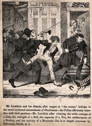 view Mr. Lambkin and friends in court before a magistrate for being drunken and disorderly. Lithograph by G. Cruikshank.