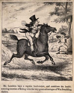 view Mr. Lambkin trying to find a new cure for his illness; riding a horse in wet clothes. Lithograph by G. Cruikshank.