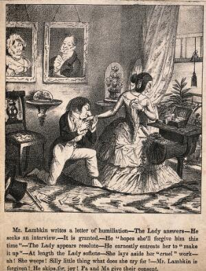 view Mr. Lambkin in an old bachelors' club, completely recovered from his illness and contemplating the errors of his ways. Lithograph by G. Cruikshank.