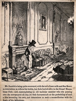 view Mr. Lambkin on his knees begging forgiveness from his loved one. Lithograph by G. Cruikshank.
