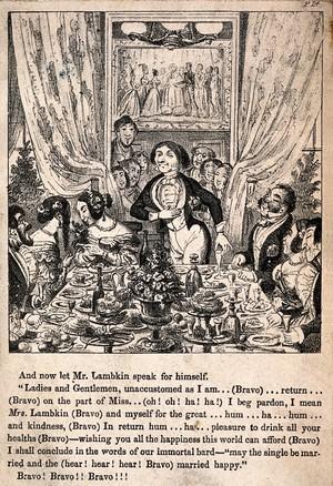 view Mr. Lambkin giving a speech at his wedding reception. Lithograph by G. Cruikshank.