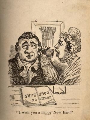 view A woman shouting into a man's ear-trumpet. Wood engraving.