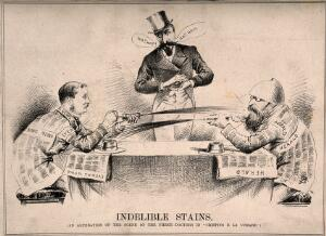 view Rivalry between newspapers; caricatured by two men squirting printing ink at one another from either end of a table. Lithograph.