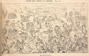 view A busy day at the beach. Reproduction of a wood engraving after Dalziel after R. Doyle.