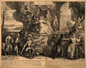view A woman being bled by one man while another holds her arm, two dogs lap up her blood; representing France in the grip of Louis XIV and Cardinal Richelieu, while the financiers drain her resources. Engraving.