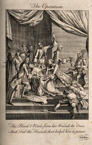view A woman being stabbed while the blood pouring from her wounds is drunk by a group of men; representing Britannia's resources being drained by politicians. Engraving, 1768.