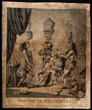 view The young foppish politician Charles James Fox having his hair dressed; represented by a fox with pages from the Magna Charta as curl-papers. Engraving, 1771.