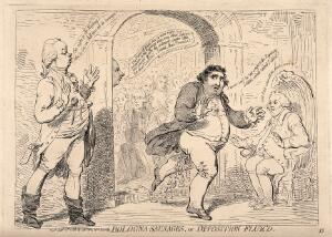 view Fox running out of the House of Commons in the middle of a debate with William Pitt the younger about the Regency crisis: he is excreting as he runs, which refers to a bout of dysentery he caught on route from Bologna. Etching by J. Gillray, 1788.