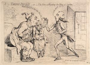view King George III and Queen Charlotte, seated at a latrine, receive with agitation news from William Pitt the younger, who tells them that the King of Sweden had been assassinated. Etching by J. Gillray, 1792.