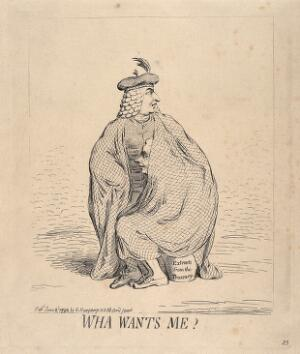 view Henry Dundas, wearing traditional Scottish costume, protects William Pitt the younger under a large tartan cape; implying Dundas's sympathetic attitude towards Pitt referred to by Courtenay in a famous speech. Etching by J. Gillray, 1792.
