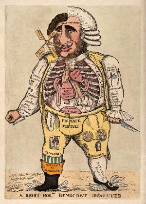 view A vertical anatomical bisection of Charles James Fox, one half of him dressed as a Frenchman, and the other half an Englishman. Coloured etching by W. Dent, 1793.