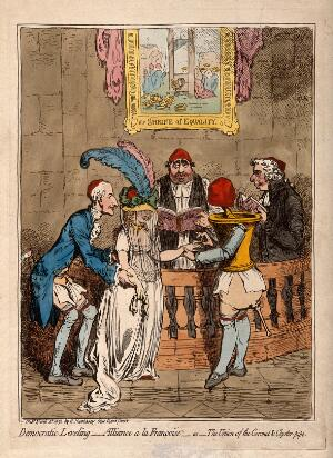 view The wedding of Lady Lucy Stanhope to Thomas Taylor, a surgeon-apothecary: the bride is given away by her father Earl Stanhope, while Fox and Sheridan officiate. Coloured etching by J. Gillray, 1796.