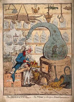 view An alchemist using a crown-shaped bellows to blow the flames of a furnace and heat a glass vessel in which the House of Commons is distilled; satirizing the dissolution of parliament by Pitt. Coloured etching by J. Gillray, 1796.