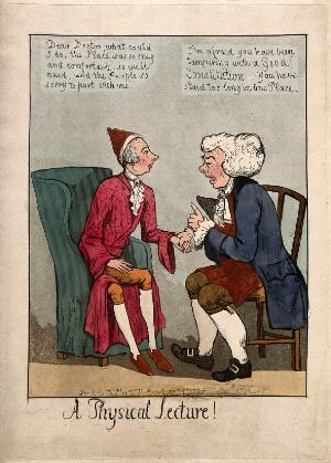 view William Pitt the younger consults the doctor John Bull on his failing health. Coloured aquatint, 1798.