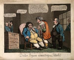 view Sheridan presented as Francisco Pizarro presented as a physician; representing his loyalty to the British Crown against the Franch Revolution and Bonaparte. Coloured aquatint, 1799.
