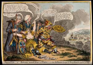 view A fearful woman (Britannia) is encouraged by three British politicians to resist the invading fleet of France. Coloured etching by J. Gillray after J. Sneyd, 1803.