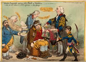 view Henry Addington as a medical practitioner bleeding the exhausted John Bull, assisted by other politicians; representing Britain's strength being sapped by nepotism in politics and by war with Napoleon. Coloured etching by J. Gillray, 1803.